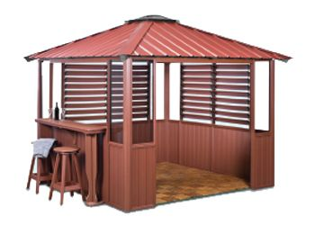 10x10 Deep Red Gazebo with two louvers and lower wall panels, bar, two bar stools in Amherst