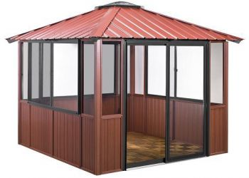 10x10 Deep Red Gazebo enclosed in Amherst