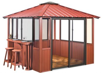 10x10 Deep Red Gazebo enclosed unit in Amherst