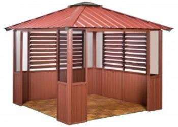 10x10 Deep Red Gazebo with two windows and lower wall panels in Amherst