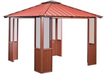 10x10 Deep Red Gazebo with four open sides in Amherst