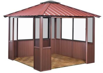 10x10 Deep Red Gazebo with two louver sections and lower wall panels in Amherst