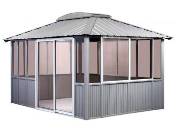 10x14 Coastal Gray Gazebo enclosed with sliding door on left in Amherst