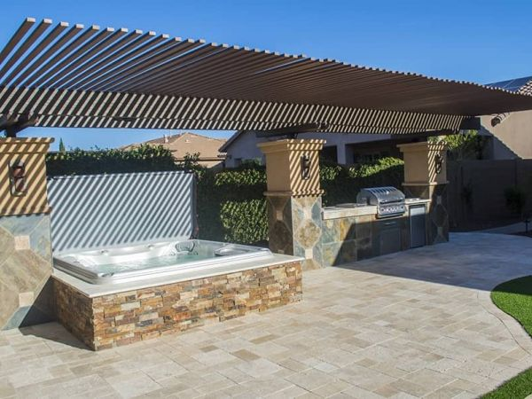 sundance-hot-tub-deck-installation-roof-shade-Amherst