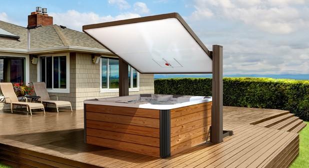 Horizon Covana Hot Tub cover in a backyard over a hot tub.
