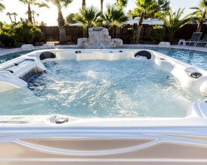 Crystal-clear water inside an Artesian Spas hot tub.