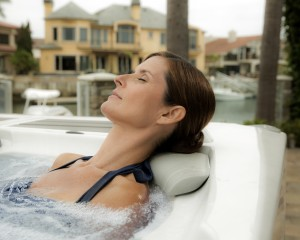 Lady relaxing in a spa
