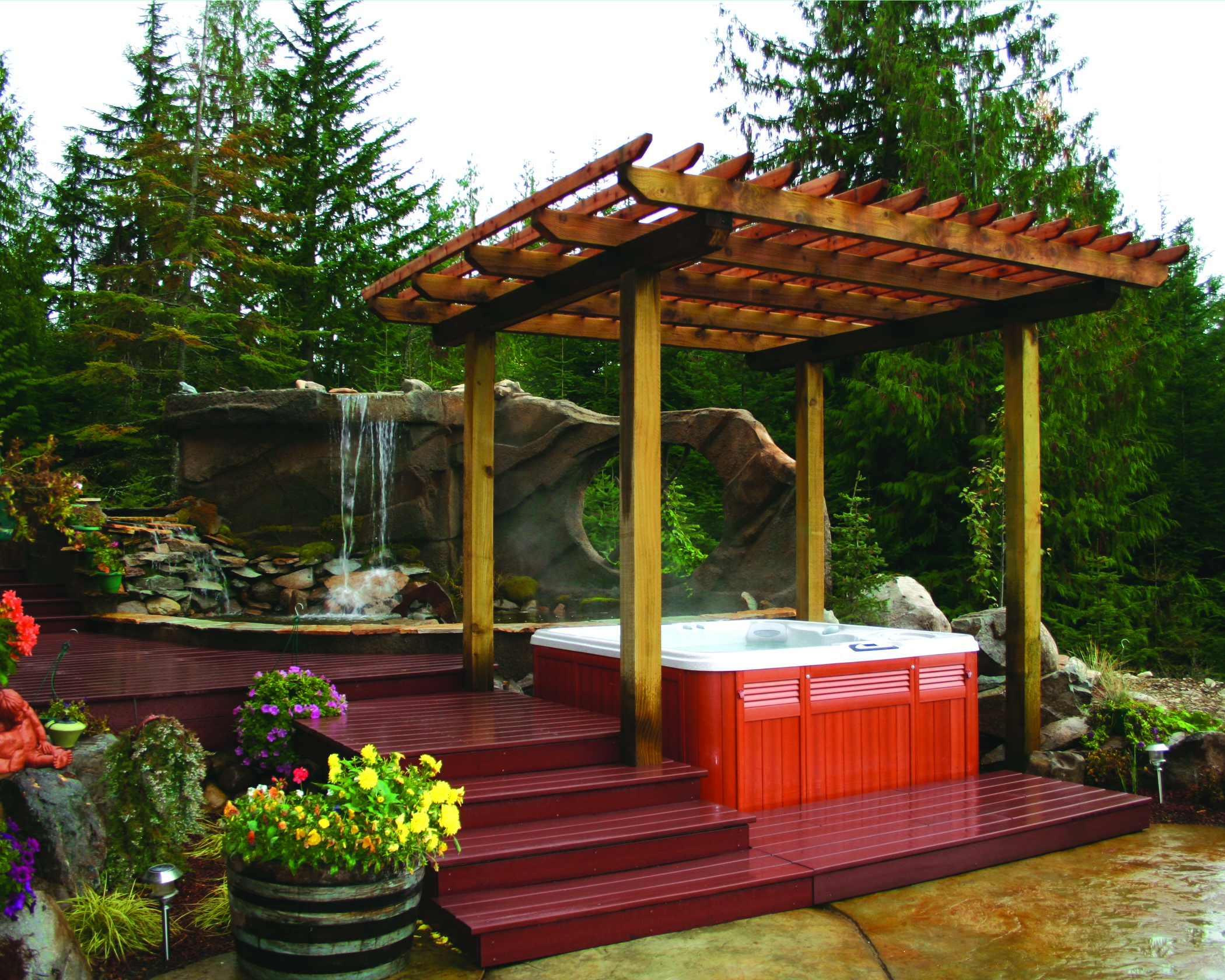 Backyard oasis with a hot tub.